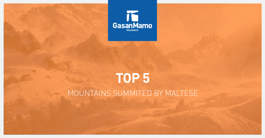 GasanMamo Insurance - Top 5 Mountains Summited by Maltese
