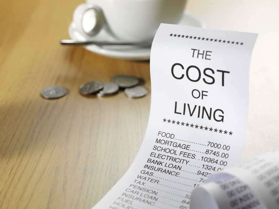 Picture of bill, coins, cups showing cost of living